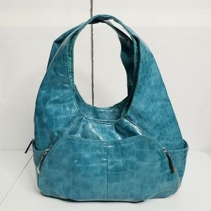 Bueno Teal Animal Print Textured Faux Leather Bag